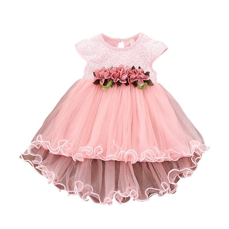 Cute Baby Girls Summer Floral Dress Princess Party Tulle Flower Dresses Toddler Infant Girls Mesh Tutu Dress 0-3Y Clothing 5