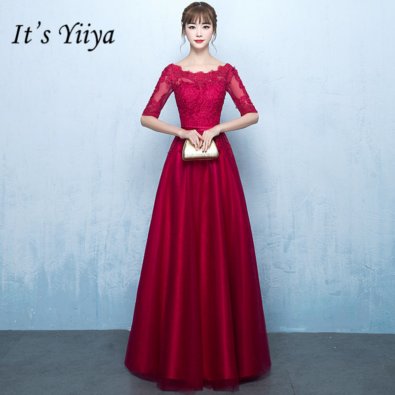 It's YiiYa Wine Red Half Sleeve   Bridesmaid     Dresses   Elegant Back Lace Up Slim A-line Illusion Frocks H205