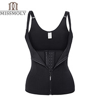Adjustable Strap Waist Trainer Vest Corset Women METAL Zipper With 3Hooks Body Shaper Waist Cincher Tummy