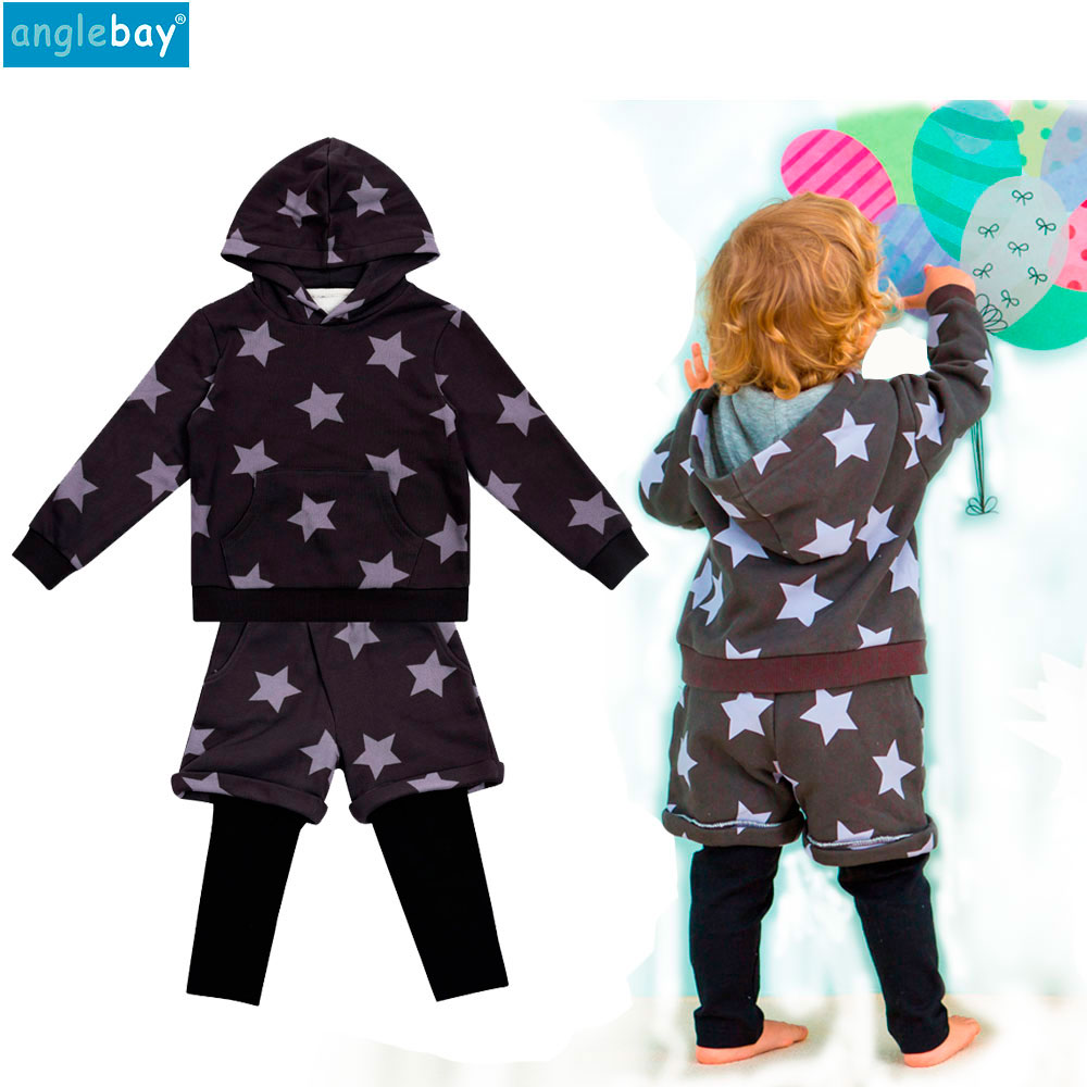 Anglebay 2018 Spring Autumn Baby Boys Girls Two Piece Set Unisex Baby Infant Long Sleeve Hooded Pullover Sweatshirt Outwear Set