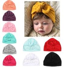 Дизайн, мягкие хлопковые Симпатичные детские шляпы с бантом, карамельные цвета, детские шапки, тюрбан для новорожденных мальчиков и девочек, шапочки-бини для малышей, шапки