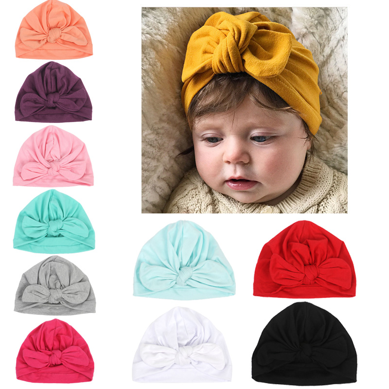 2019 New Design Soft Cotton Baby Hats Cute Bowknot Candy Color Kids Caps Turban Newborn Boys Girls Toddler   Beanies   Hat Caps