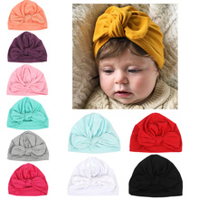3c71a32a010 2019 New Design Soft Cotton Baby Hats Cute Bowknot Candy Color Kids Caps  Turban Newborn Boys