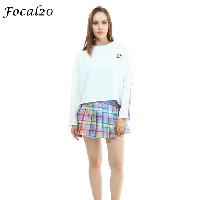d882eefd739 Focal20 Casual Autumn Women T-shirt Long Sleeve Rainbow Stripes Loose T  Shirt Rainbow Embroidery Oversized Tee Top Streetwear