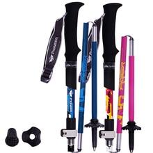 Ultra-light Carbon 5 Section Cane Short Fiber Lock Folding Rod Walking Trekking Climbing Poles Alpenstock Stick Travel Camping