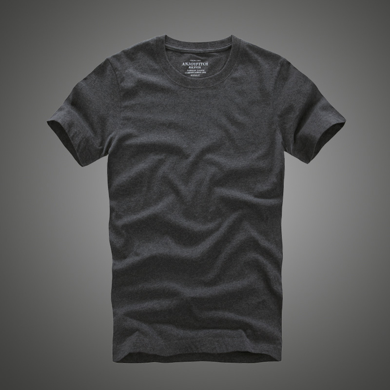 Hommes af t-shirt 100% coton solide O-cou à manches courtes t-shirt de haute qualité