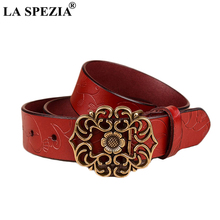LA SPEZIA Pin Buckle Belt For Women Coffee Real Leather Female Vintage Ethnic Genuine Cowhide Ladies Jeans Belts
