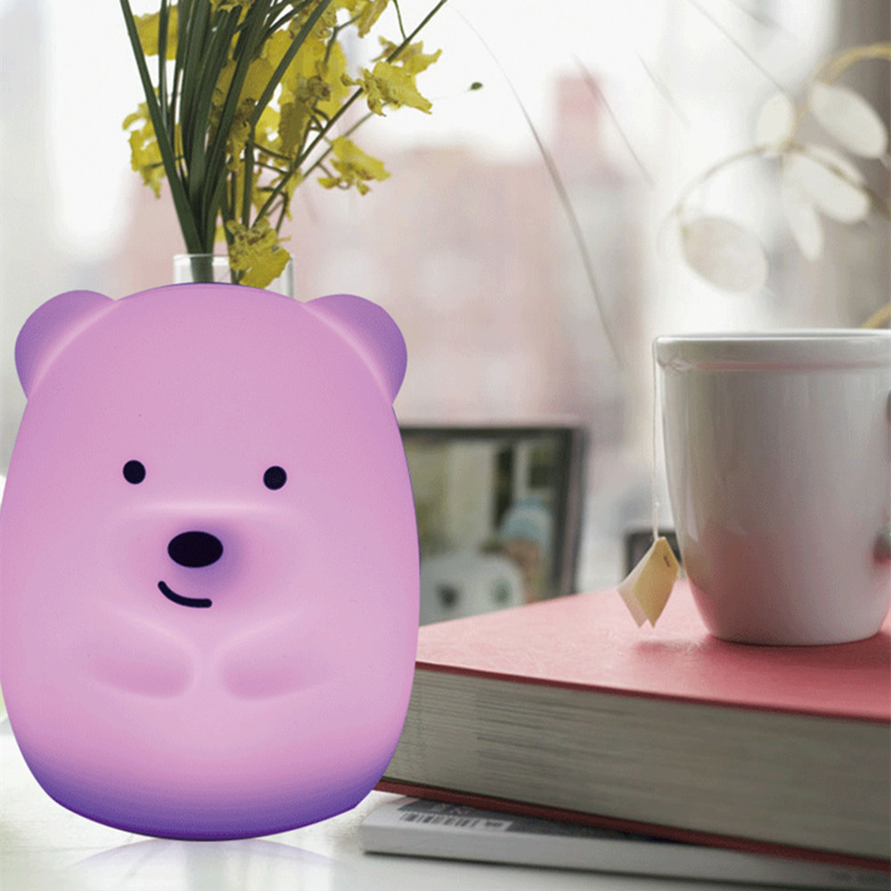 SuperNight Cute Bear Dog Monkey Fox LED Night Light Touch Sensor Colorful Silicone Cartoon Table Lamp for Children Kids Baby (7)