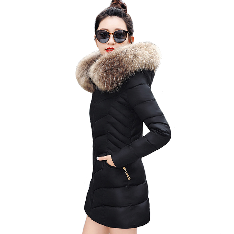 2019 Slim Winter Jacket Women Hooded With Fur Collar Cotton Padded Female Coat Long   Parka   Mujer Invierno