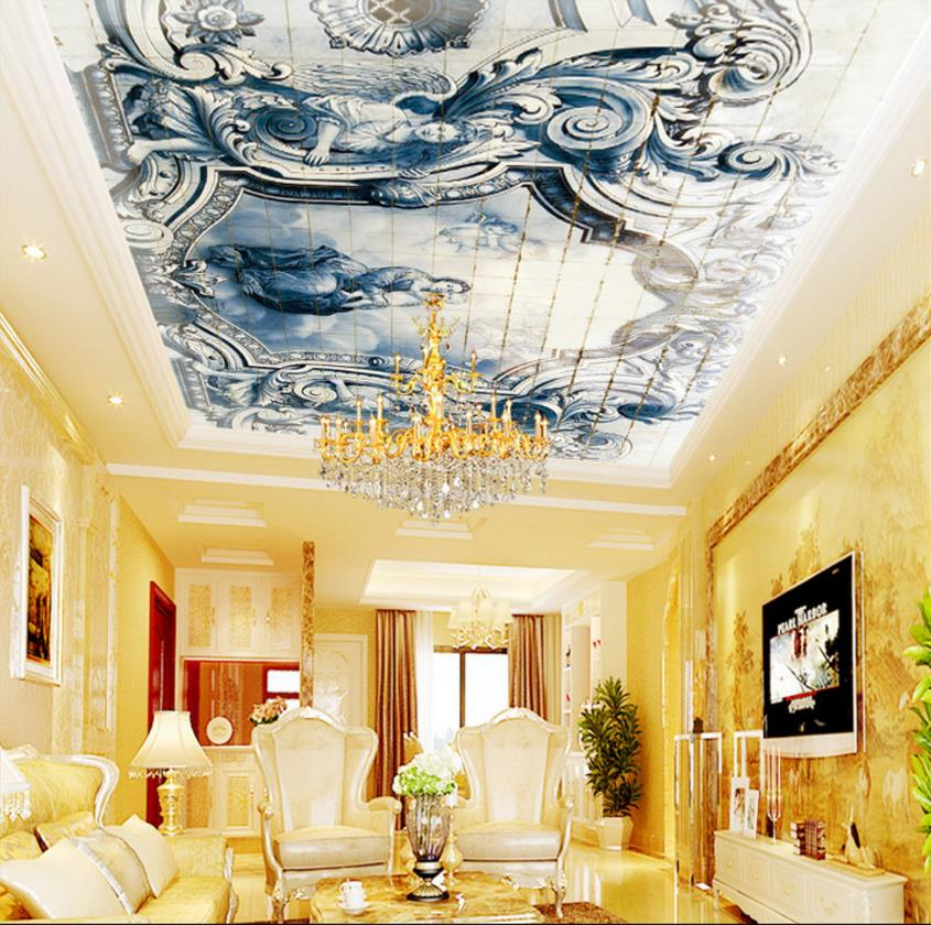 European Blue and white porcelain Stereo parquet 3D Ceiling Murals Wallpaper Living Room Bedroom blue sky and white clouds ceiling murals wallpaper living room bedroom hotel 3d ceiling wallpaper background