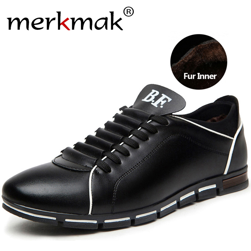 Merkmak Brand Warm Winter Shoes Casual Leather Shoes for Men Comfortable Genuine Leather Fur Inner Winter Man Footwear Outdoor top brand high quality genuine leather casual men shoes cow suede comfortable loafers soft breathable shoes men flats warm