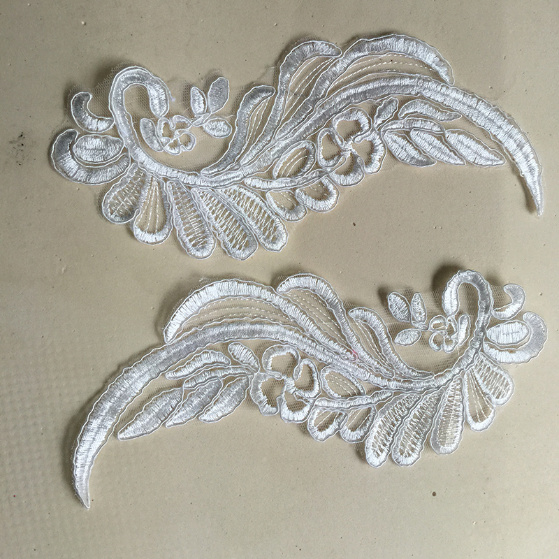 2Pieces 22X10cm Lace Applique High Quality New Wedding Dress DIY Bridal Headdress French Lace Fabric TT305 in Lace from Home Garden