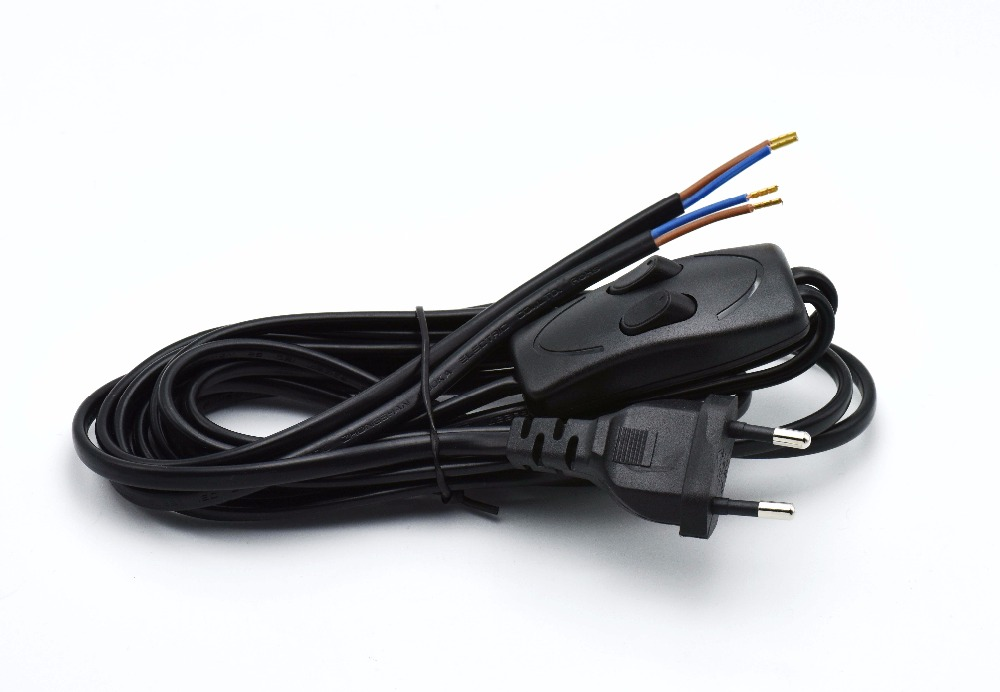 2*0.75mm2 Europe Plug Lamp Power Cord with Double Control Switch VDE ...