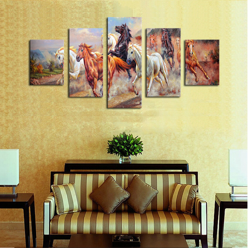 Unframed 5 Panels Canvas Print Painting Modern Running Horse Canvas ...