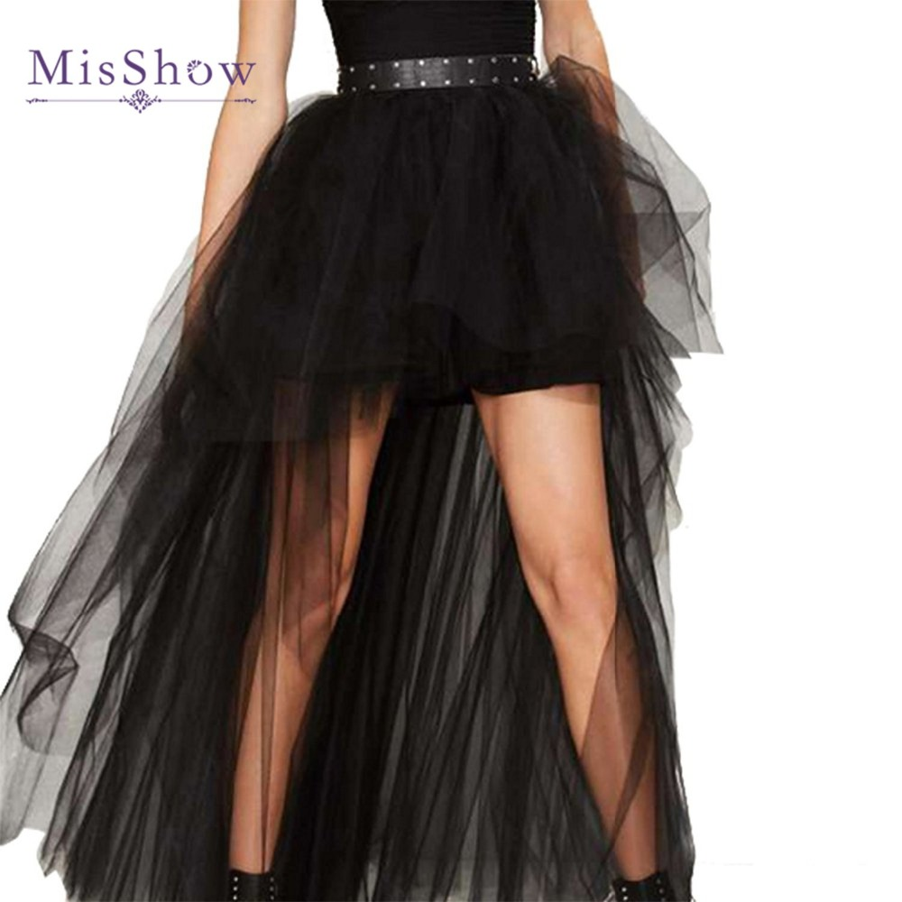 a414f0dd8a MisShow New Arrival Cheap 3 Layers Tulle Black Short Front Long Back Skirts  Womens Sexy High Low Summer Tutu Skirts High Waist -in Skirts from Women's  ...