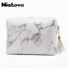Fashion Makeup Brushes Pouch Organizer PU Marble Waterproof Pillow Bag Girl Women Wash Travel Cases Cosmetic