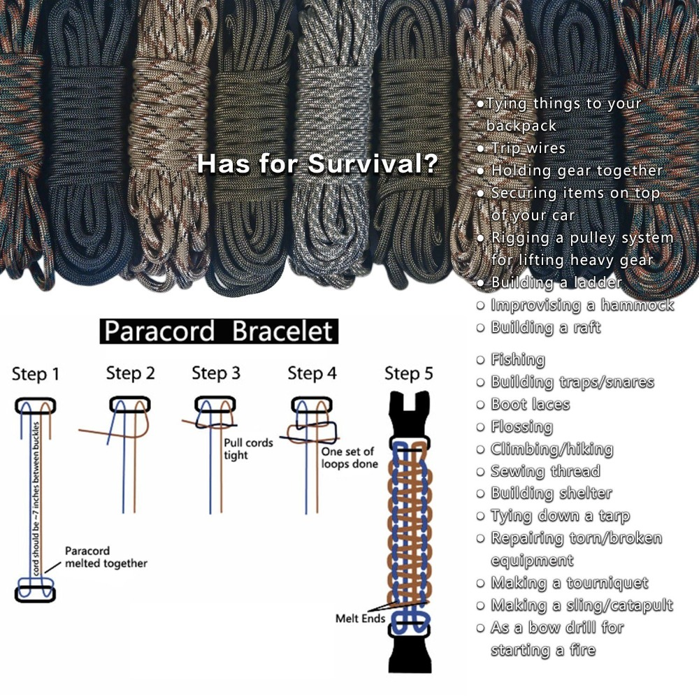 Multifunctional Outdoor Survival Paracord Survive Camping Equipment Multi Tool Braided Paracord Rescue Rope SOS Flash For Men (10)