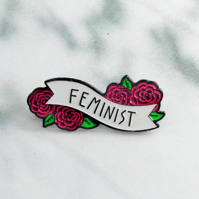 Merah Mawar Bunga Feminist Jarum Lencana Bros Enamel Kelapak Jarum Tas Tas Ransel Hadiah untuk Wanita Wanita