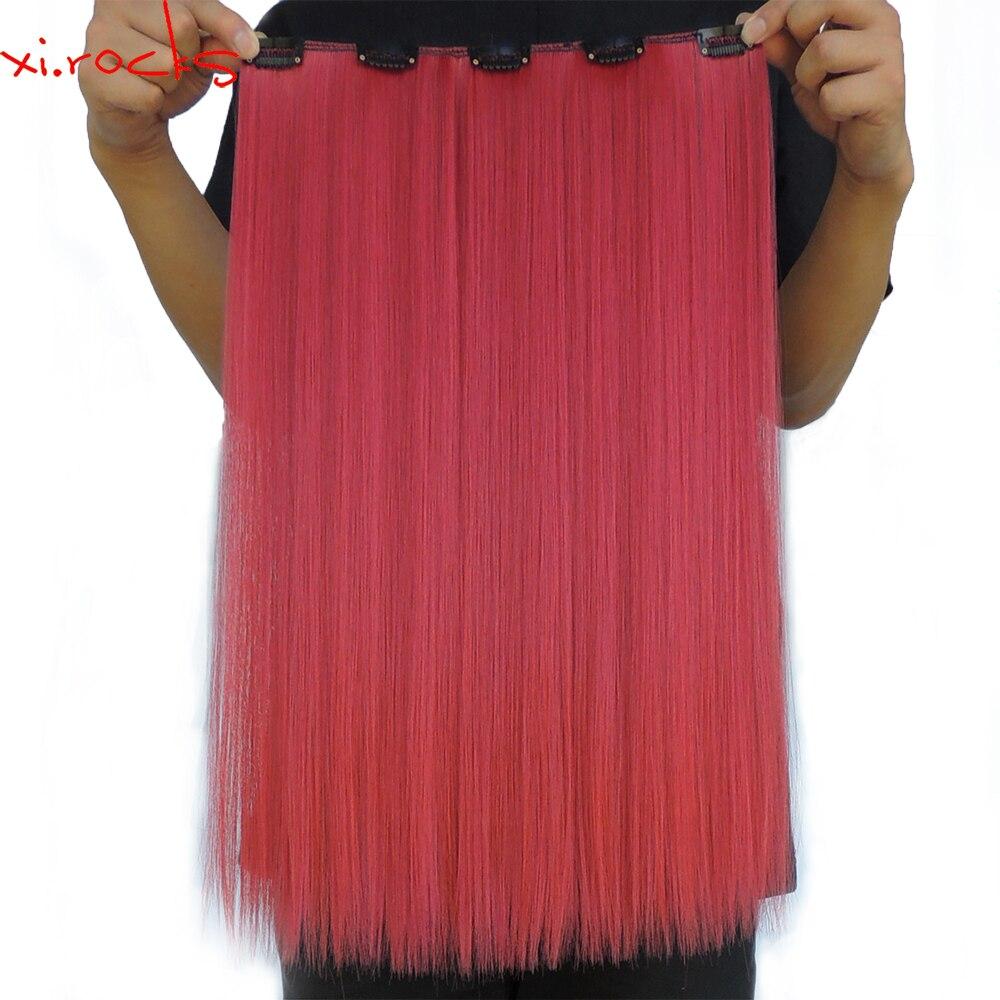 5 peças/lote Xi. rochas 5 50 centímetros Grampos de Cabelo Grampo na Extensão Do Cabelo Sintético Color130M 50g Hairpin Reta Peruca Vermelho Melancia