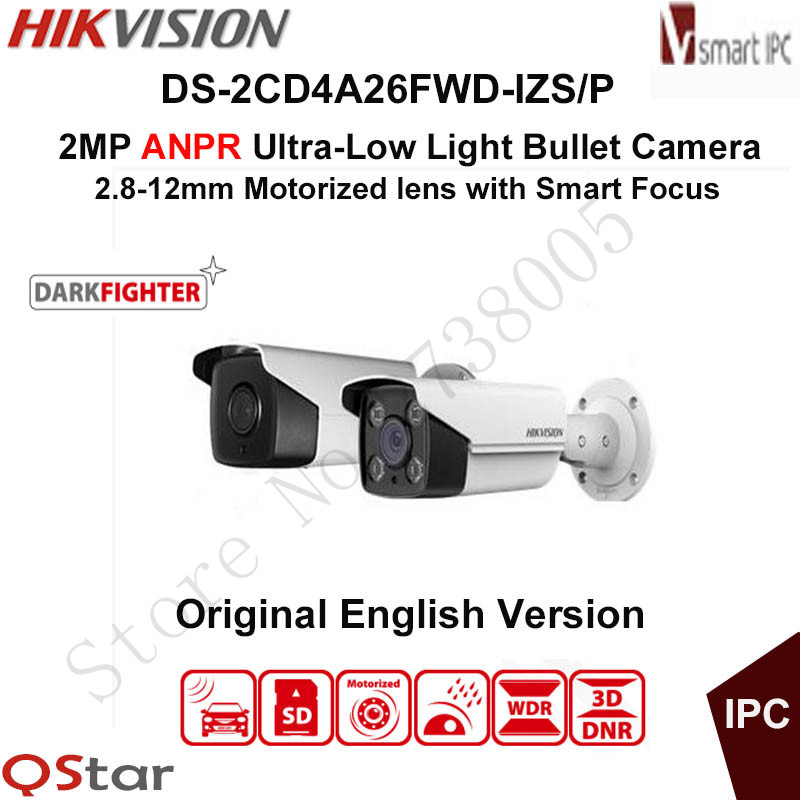 Hikvision 2MP ANPR Ultra-Low Light Smart IP Camera DS-2CD4A26FWD-IZS/P LPR Bullet CCTV Camera POE Motorized 2.8-12mm 50mIR IP67 hikvision 3mp low light h 265 smart security ip camera ds 2cd4b36fwd izs bullet cctv camera poe motorized audio alarm i o ip67
