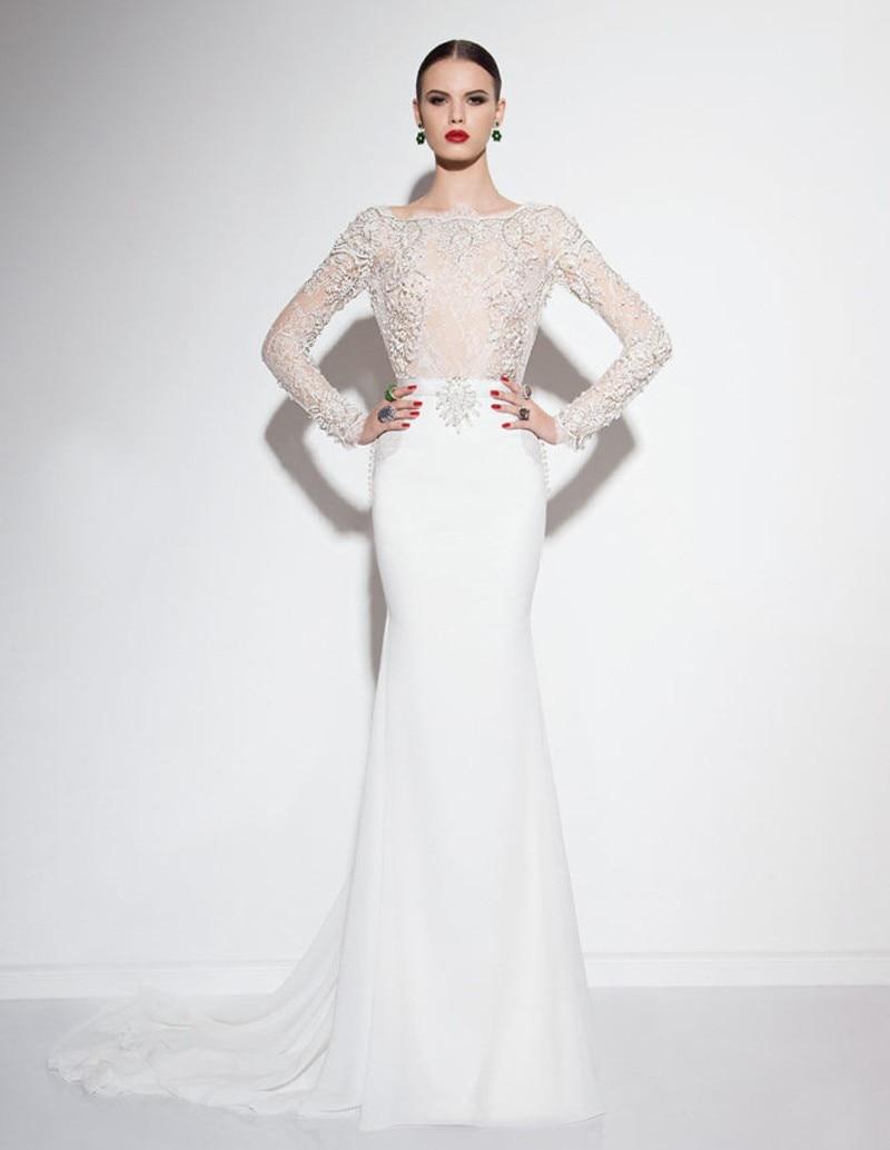 Elegant Mermaid Long Sleeve Muslim Wedding Dress Dresses 2016 Lace Beaded Appliqued Vestido De