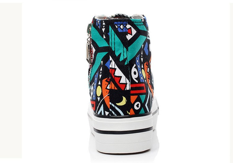 2016 spring summer high top canvas women shoes flower color graffiti Height Increasing casual women canvas shoes ST809 (17)