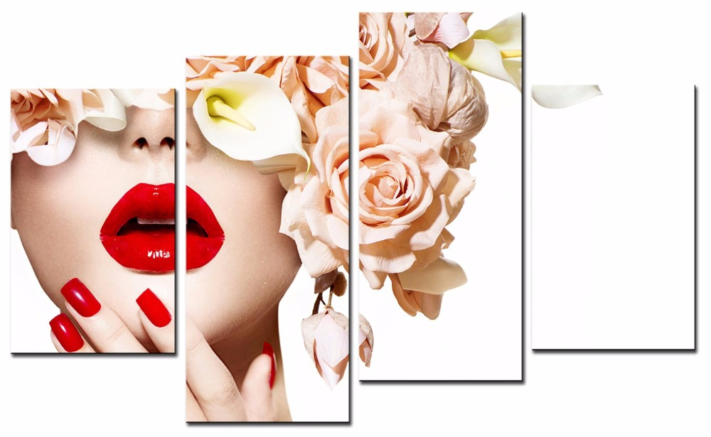 4 Pieces Picture Painting Wall Art Room Decor Print Poster Nail art posters Wall Pictures for Living Room Canvas Painting Framed in Painting Calligraphy from Home Garden