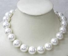 """Precio al por mayor 16new ^ ^ ^ ^ Belleza 12mm Mar Blanco Del Sur Shell Collar de Perlas 18 """"AAA +"""