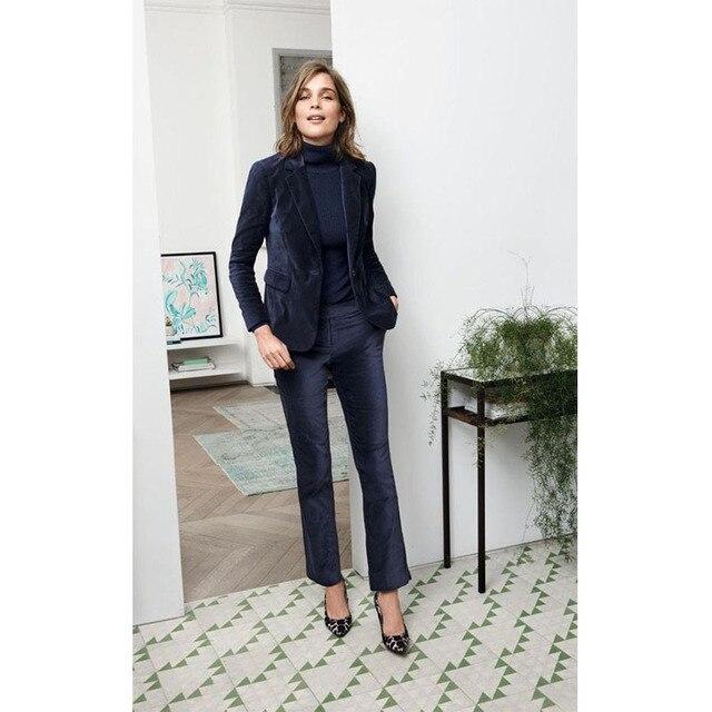 new velvet marine 2 piece set women business suits elegant ladies