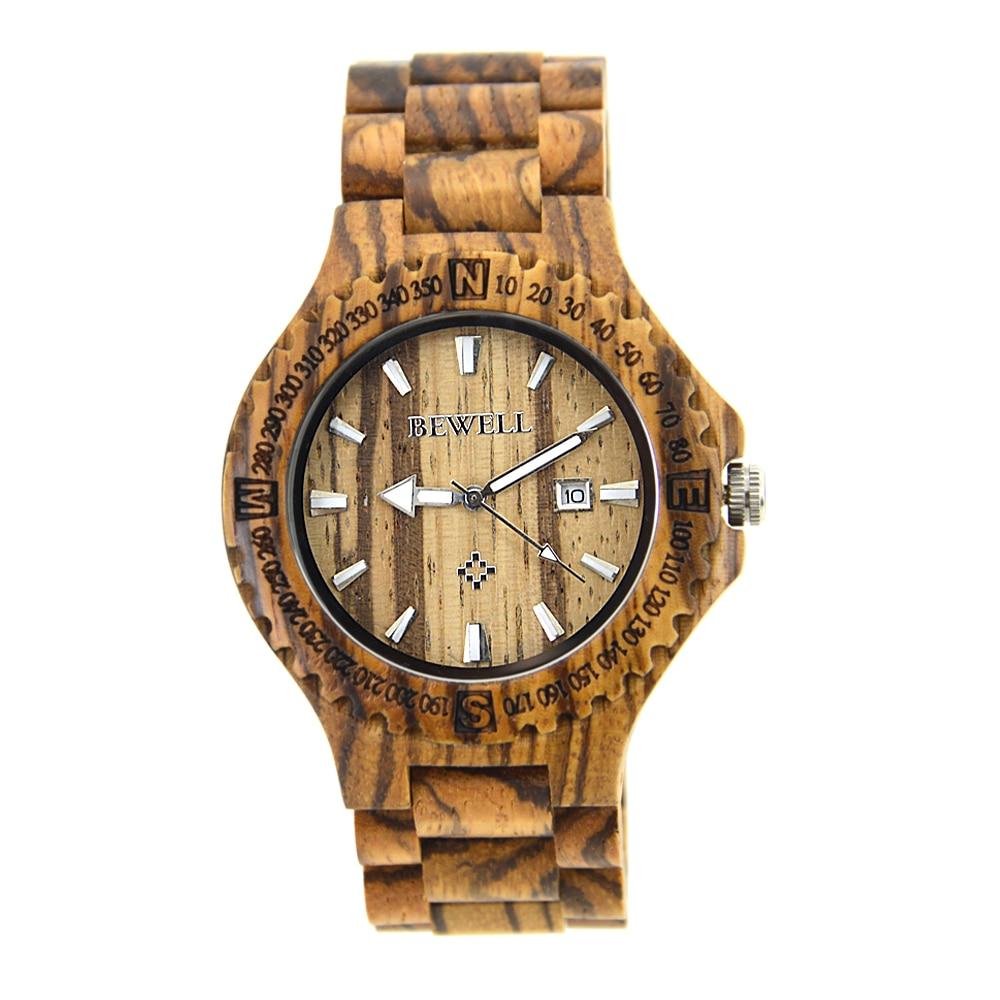 BEWELL heren horloges houten kist met houten band met kalender - Herenhorloges - Foto 1