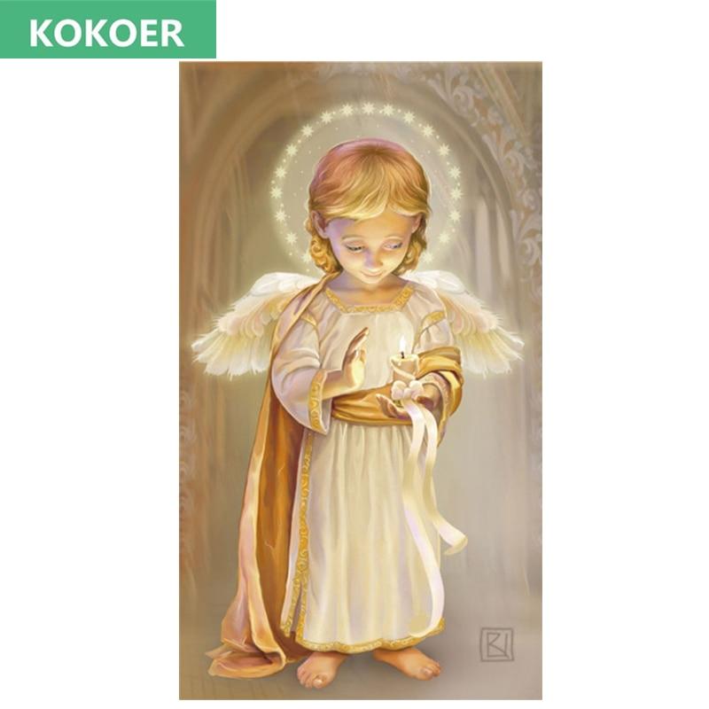 kokoer Full,Diamond Embroidery,Angel Guardian Baby children 5D,Diamond Painting,Cross Stitch,Diamond Mosaic,Needlework,Christmas