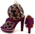 Nova Moda Sapato Africano E Saco De Set Para A Festa de Sapato Italiano Combinando com Saco Novo Design Senhoras Sapato E Bolsa de Correspondência! WTT1-16