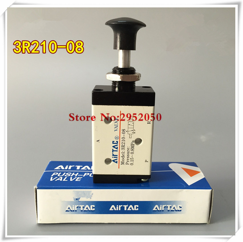 3 Port 1/4 BSP Airtac Push pull Valve Hand Lever Operated Solenoid Valve Hand Return Manual Control Valve 3R210-08 airtac new original authentic solenoid valve 4v220 08 ac220v