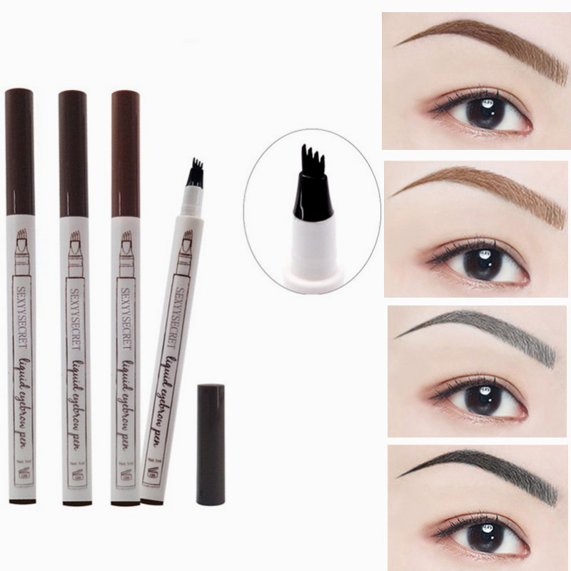 1PC Waterproof Natural Eyebrow Pen Four-claw Eye Brow Tint Makeup Four Colors Eyebrow Pencil Brown Black Grey Brush Cosmetics image
