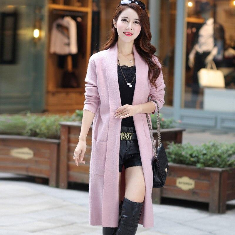 M-XXL Long chandail manteau mode sauvage nouveau automne hiver femmes Cardigan femme à manches longues tricoté chandail Cardigan 167-110F