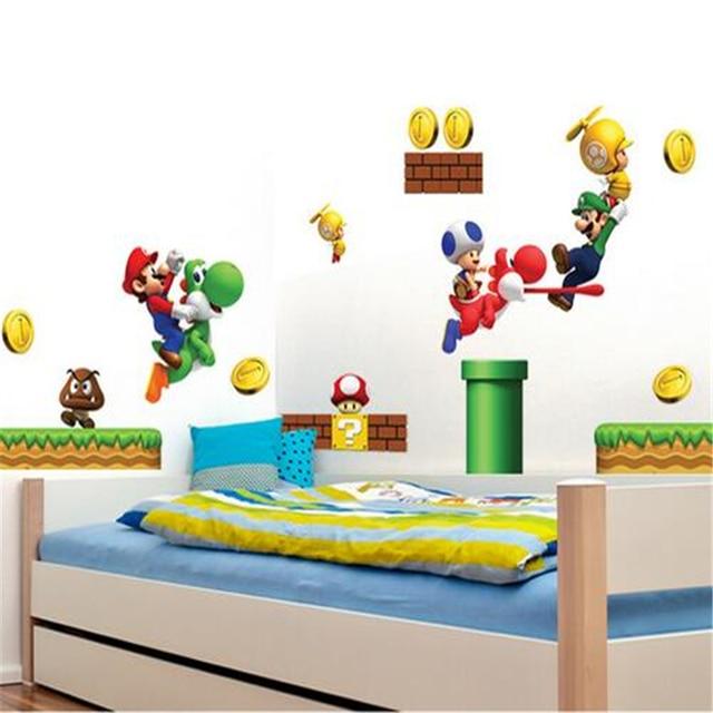 Sábado Monopólio] Novo Pvc Super Mario Bros Adesivos De Parede Home Decor  Para Quarto Crianças Part 74