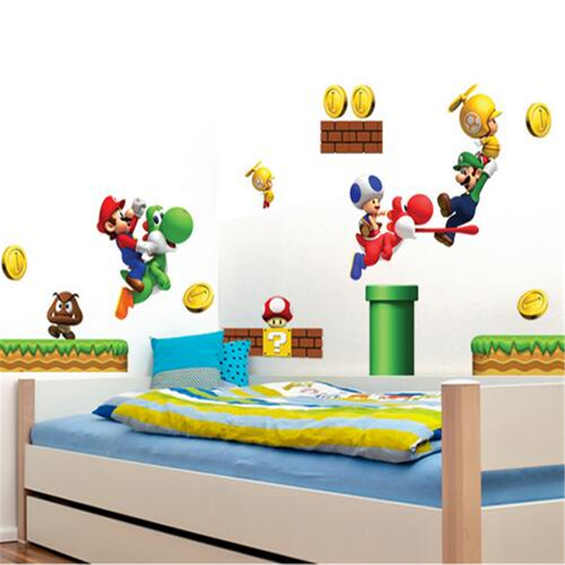 Saturday Monopoly New Pvc Super Mario Bros Wall Sticker Home Decor For Kids Room Baby Bedroom Stickers Muraux Games Free Mario