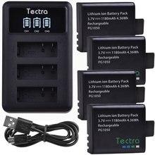 4 шт SJ4000 PG1050 Батарея для активных видов спорта Камера SJCAM SJ5000 SJ4000 eken H9 H9R H3 H3R Батарея + светодиодный 3 слота USB Зарядное устройство