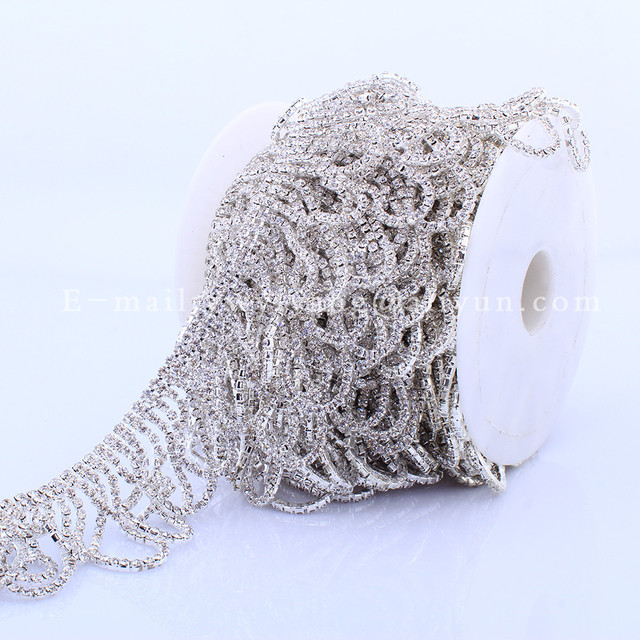 5yards Sew on Crystal Rhinestone Trim Tassel cup chain Clear stone