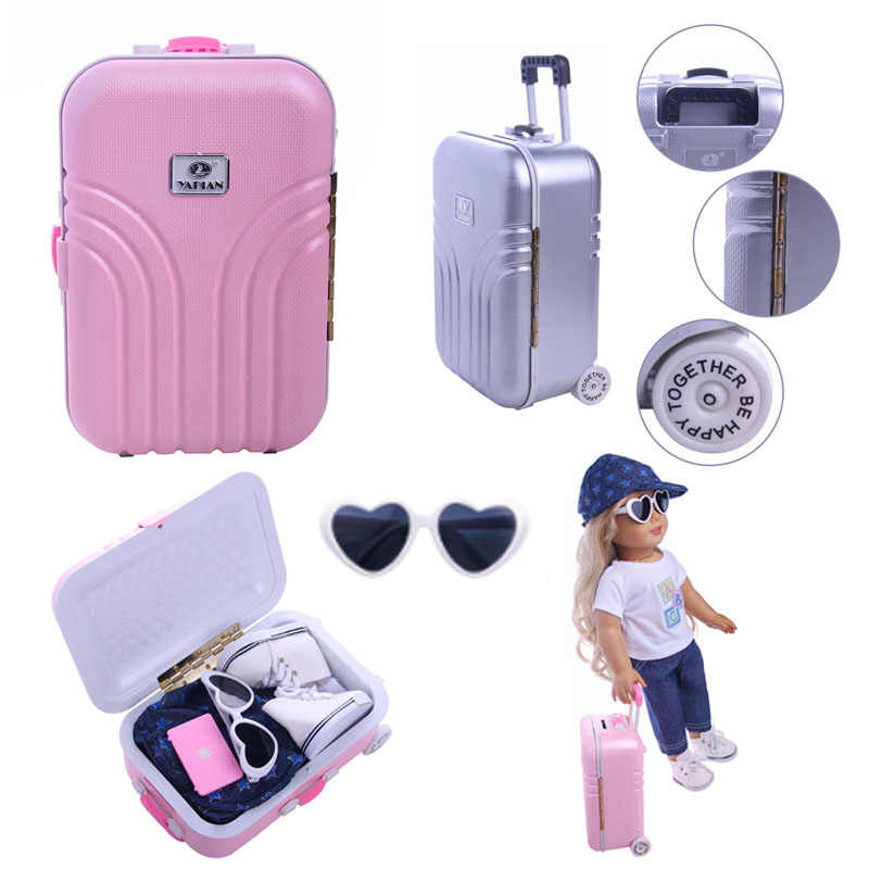 Cute lightweight roller-skating suitcase fits 18 inches and 43 cm American dolls, accessories not included