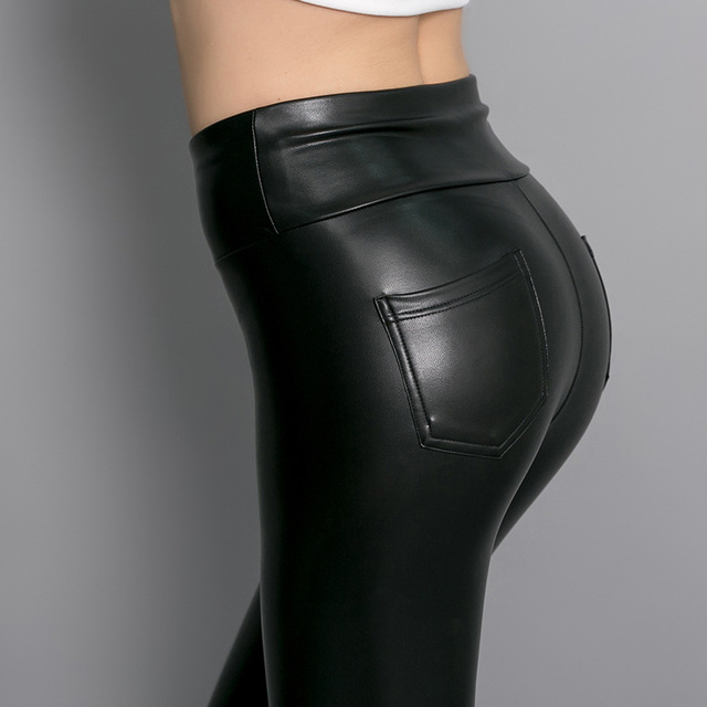 New Womens Fashion Back Pocket Fleece Elastic PU Leather Leggings Skinny Slim Leggings High Waist Pencil Pants Trousers Women