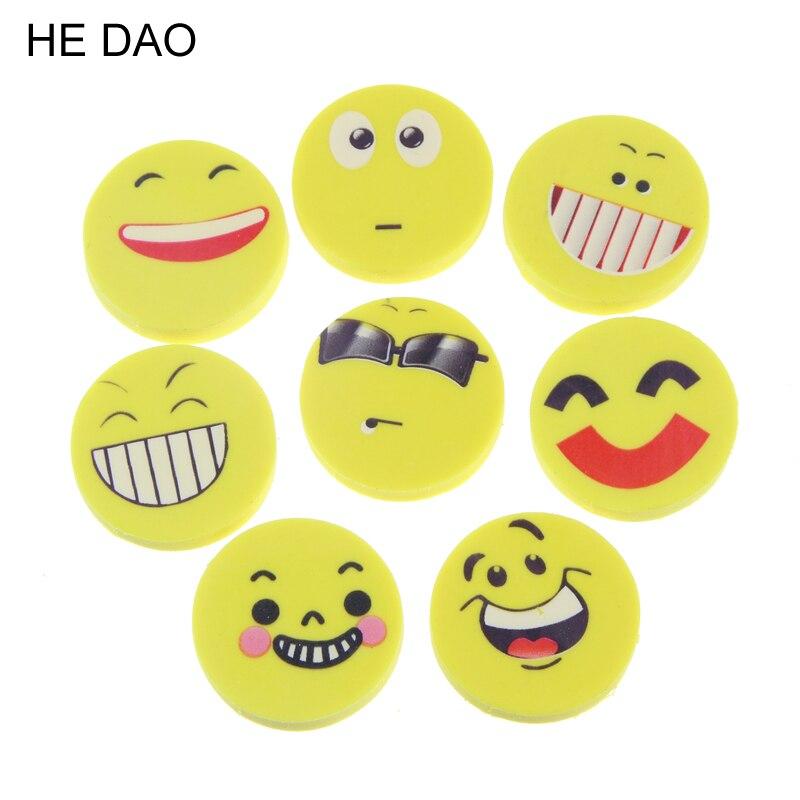 8 Pcs Mini Cute Cartoon Kawaii Rubber Smile Face Eraser For Kids Gift School Supplies Korean Papelaria