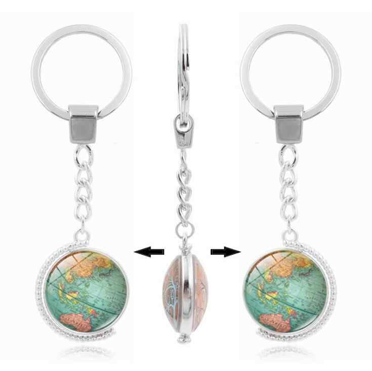 Vintage Globe Map Keychain World Map Art Glass Round Dome Pendant Key Chain Fashion Jewelry Silver Key Ring for Women Men Gifts