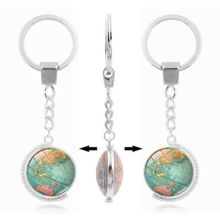 Vintage Globe mapa brelok mapa świata sztuka szklana okrągły Dome wisiorek brelok do kluczy moda biżuteria srebrny klucz pierścień dla kobiet mężczyzn prezenty