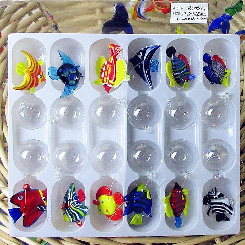 12pcs NEW Custom Hand Blown Murano Floating Glass Tropical Fish Mini Figurines Aquarium Decoration Pendant Glass Animal Statues