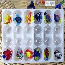 12pcs NEW Custom hand blown Munuola floating glass tropical fish Mini Figurines aquarium decoration pendant animal statues