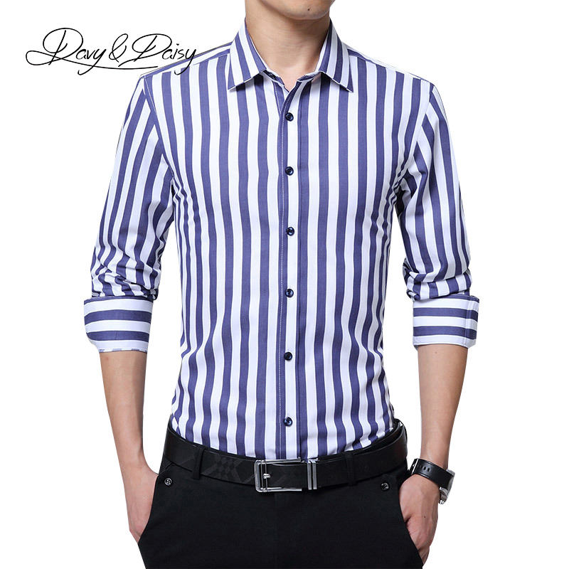 DAVYDAISY 2019 Men Shirt High Quality Long Sleeved Fashion Twill Slim Fit Brand Clothing Business Dress Shirt Man Clothes DS096