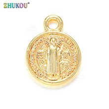 ZHUKOU 11x14mm Round Religious Chaems Exquisite Brass Cubic Zirconia Charms for Handmade Necklace Jewelry Accessories Model:PD4(China)