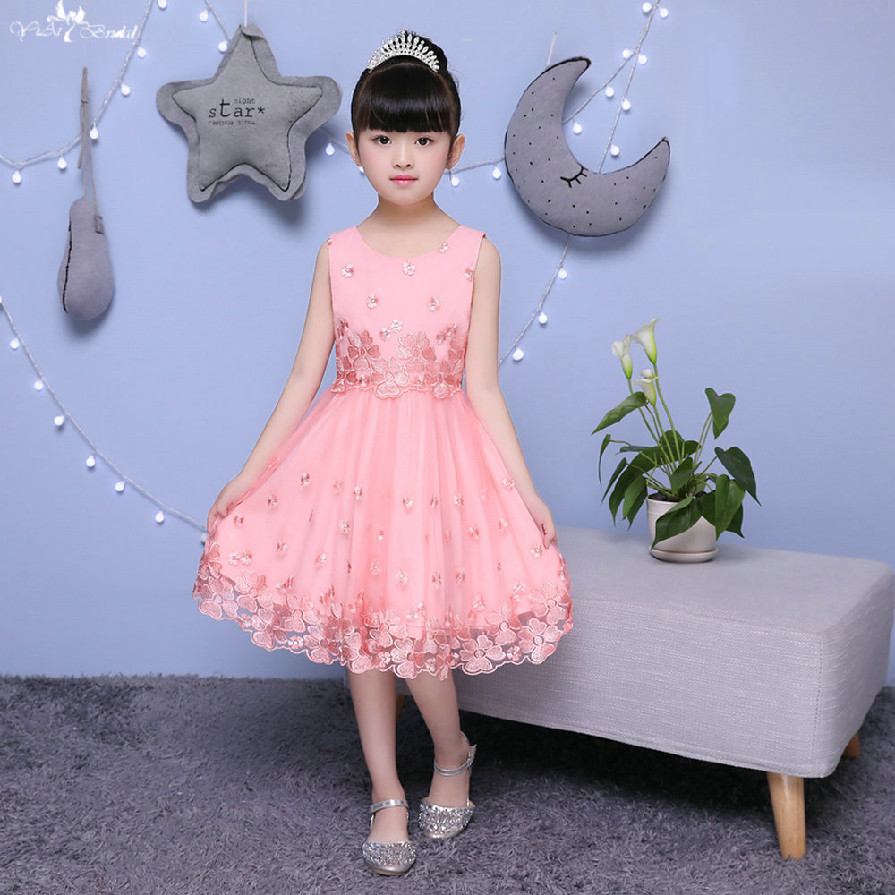 LZC010 A Line Pink   Dress   Bow Lace Edge Kids Sequin Gown   Flower     Girl     Dresses