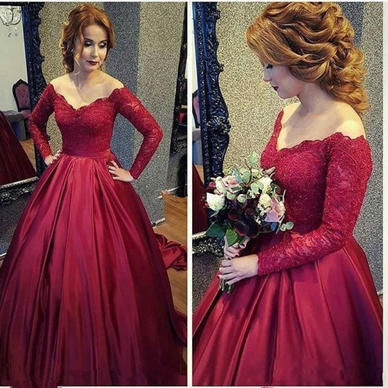 2017 Arabic Vintage Lace   Evening     Dress   Long Sleeve Burgundy V-Neck Ball Gown Plus Size   Dress   Wear Party Gowns